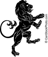 Lion on Hind Legs - Original illustration of a rampant lion...