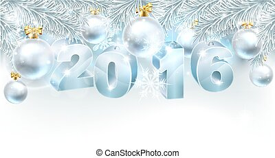 New Year Christmas Background 2016 - Snowflakes and...
