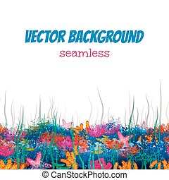 Vector seamless pattern with underwater cave - Vector...