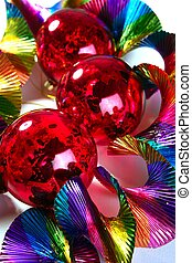 Christmas red shiny balls colorful background - Christmas...