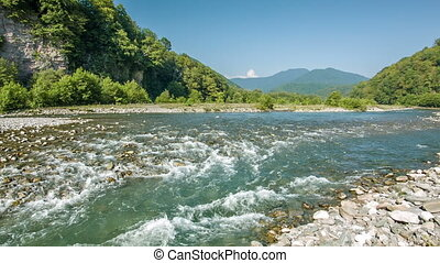 Mountain River Stream In Gorge - Mountain river stream on...