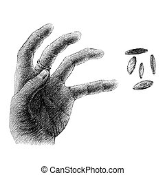 hand_and_coinseps - freehand sketch of human hand on white...