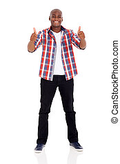 young african man giving thumbs up