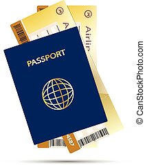 air ticket passport - Passport and Airline Ticket isolated...