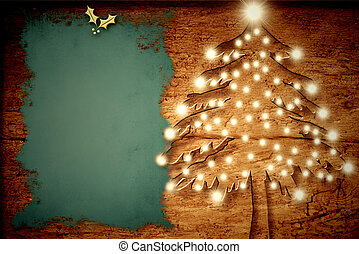 Christmas rustic card, Christmas tree with lights old wood