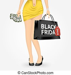 unrecognizable woman with shopping bag