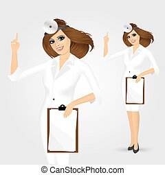 medicine doctor woman with clipboard