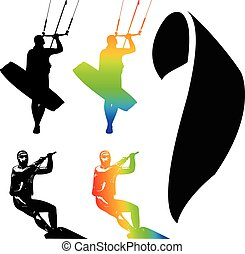 Kiteboarding - Illustration Icons of Kiteboarding. Extreme...