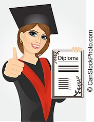 graduating student girl in an academic gown