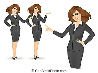 business women showing something - set of friendly business...