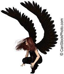 Female Urban Guardian Angel - Fantasy illustration of a...