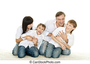 family of four people - portrait of happy family of four...