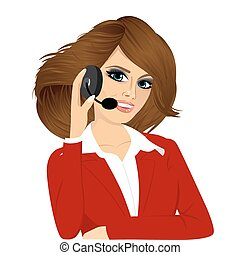 female customer support phone operator - portrait of happy...