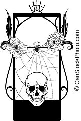 vector frame with skull and poppies
