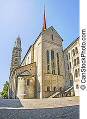 Grossmunster cathedral side view in Zurich in Switzerland in...