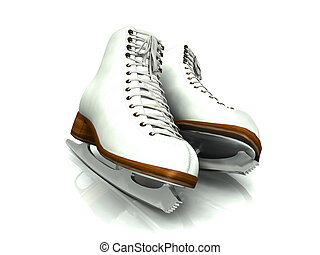 A pair of white figure skates - A pair of white figure...