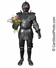 A knight in armour holding a bouquet. - A romantic knight in...