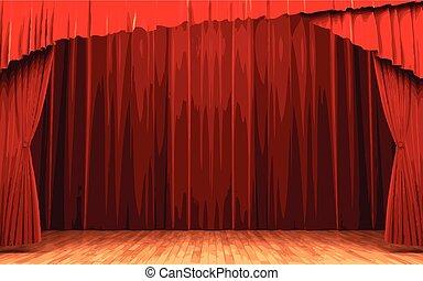 vector Red velvet curtain opening scene