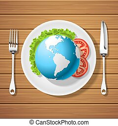 fork with knife and globe on plate