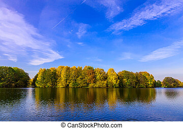 Landscape with Lake and Colourful Trees in Autumn - Autumn...