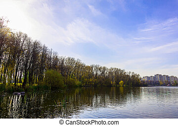 Landscape with Lake and Colourful Trees in Autumn Time -...