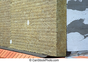rockwool - Wall of Bricks and Insulation Wool