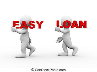 3d people word text easy loan - 3d illustration of walking...