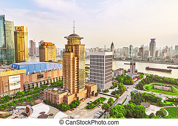 SHANGHAI-MAY 24, 2015. Skyline view from Bund waterfront on Pudong New Area- the business quarter of the Shanghai. Shanghai district in most dynamic city of China.