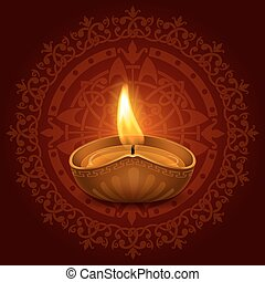 Happy Diwali - Vector illustration of burning oil lamp diya...