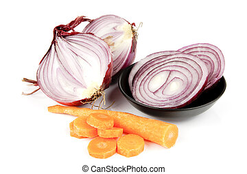 Red Onion Cut in Half with Slices and Carrot