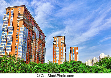 Dwelling house in Beijing, modern office and residential buildings on the streets of Beijing, life of the city.