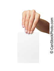 Woman holding blank business card in hand Isolated on white...