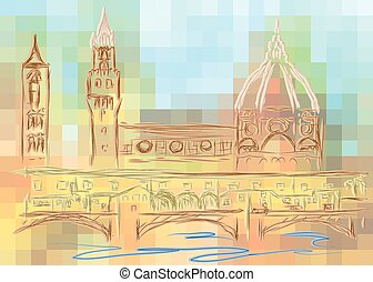 florence. abstract silhouette of city isolated on a white...