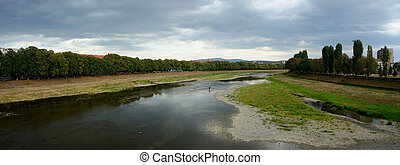 View of almost dry Uzh river during very hot summer 2015 in...