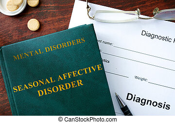 Seasonal affective disorder concept. Diagnostic form and...