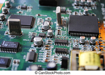 Electronics - The computer electronic card with chips,...
