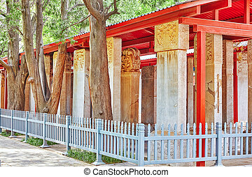 Stone Tablet inside the Confucius Temple at Beijing-the...