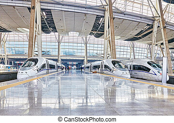 BEIJING, CHINA- MAY 23, 2015: High speed train at the...