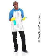 producto, norteamericano, limpieza, tenencia, africano, hombre