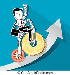 ride-bycicle-fruit.eps - Vector of Businessman riding a...