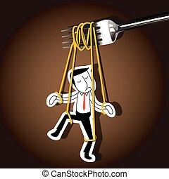 Businessman marionette on noodle - Vector of Businessman...
