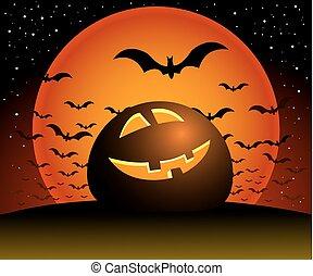 Halloween night. - Halloween illustration scene, moon,...
