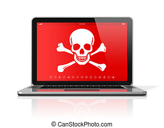 Laptop with a pirate symbol on screen. Hacking concept - 3D...