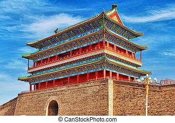 Beautiful Zhengyangmen Gate (Qianmen Gate ). This famous...