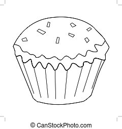 cupcake, tasty, sweet food - outline illustration of...
