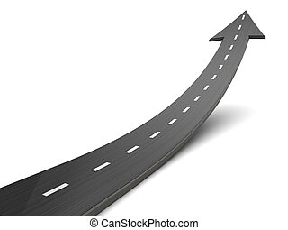 moving forward - 3d illustration of road with arrow, moving...
