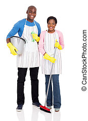 young african couple with cleaning tools