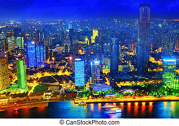 Beautiful view of Shanghai - Bund or Waitan waterfront at...
