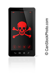 smart phone with a pirate symbol on screen. Hacking concept...