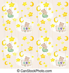 Baby Bear Seamless Pattern - for background, design, card, wallpaper, prints